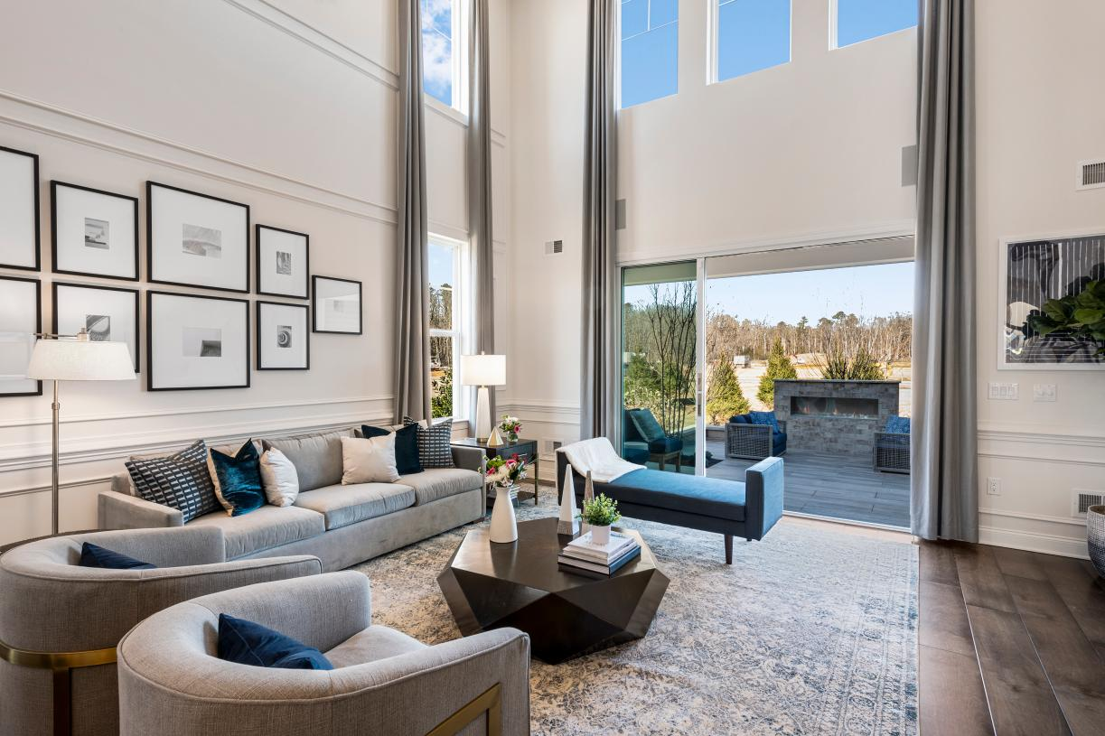 The great room is perfect for bringing the outdoors, inside