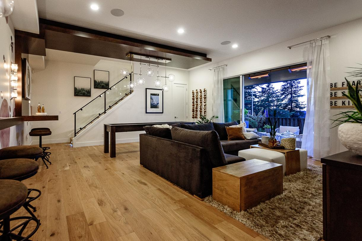 Bonus room in the daylight basement of select homes with covered outdoor living