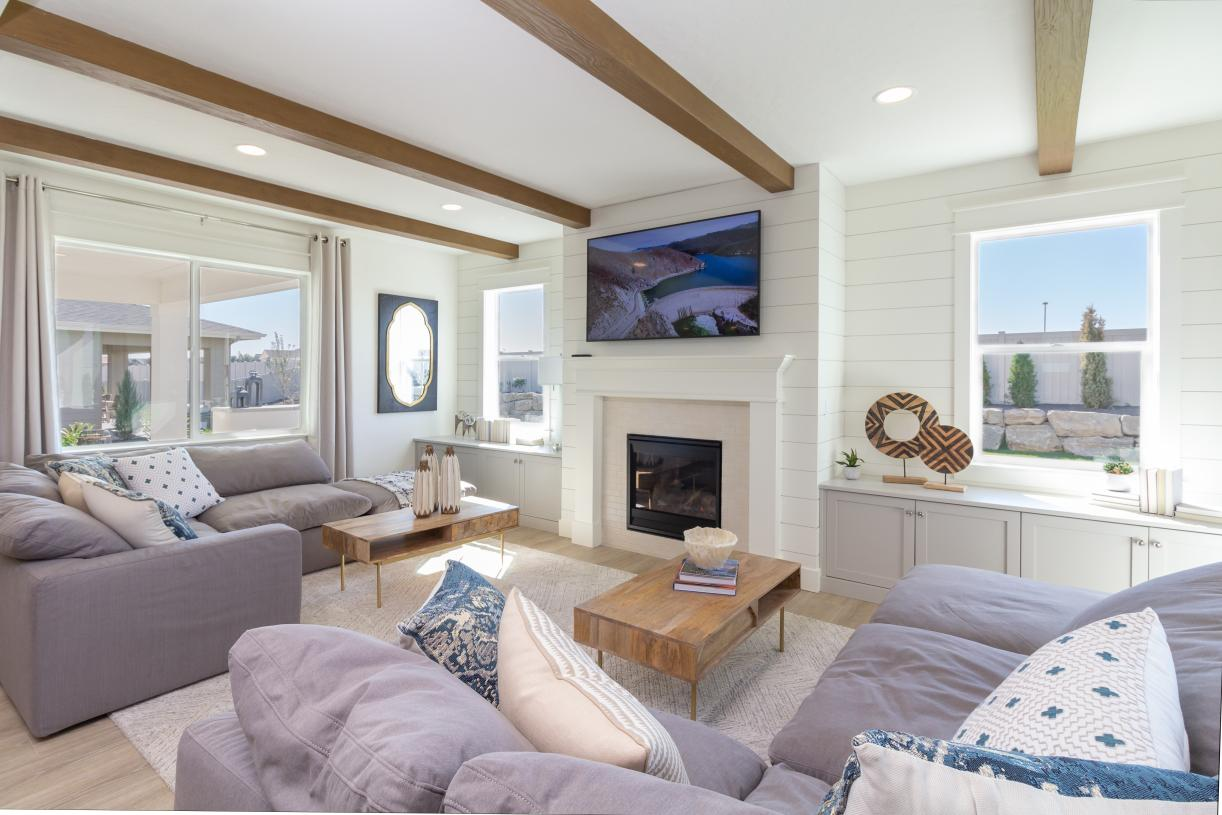 Cozy living rooms with gas fireplaces