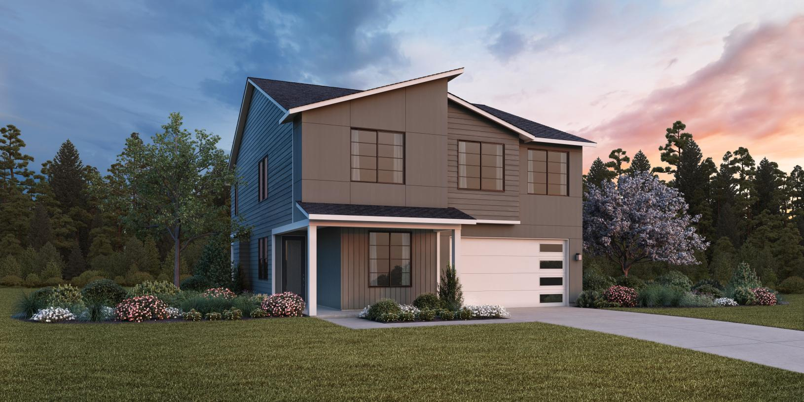 The Alki Contemporary exterior design will blend nicely with a variety of architectural styles