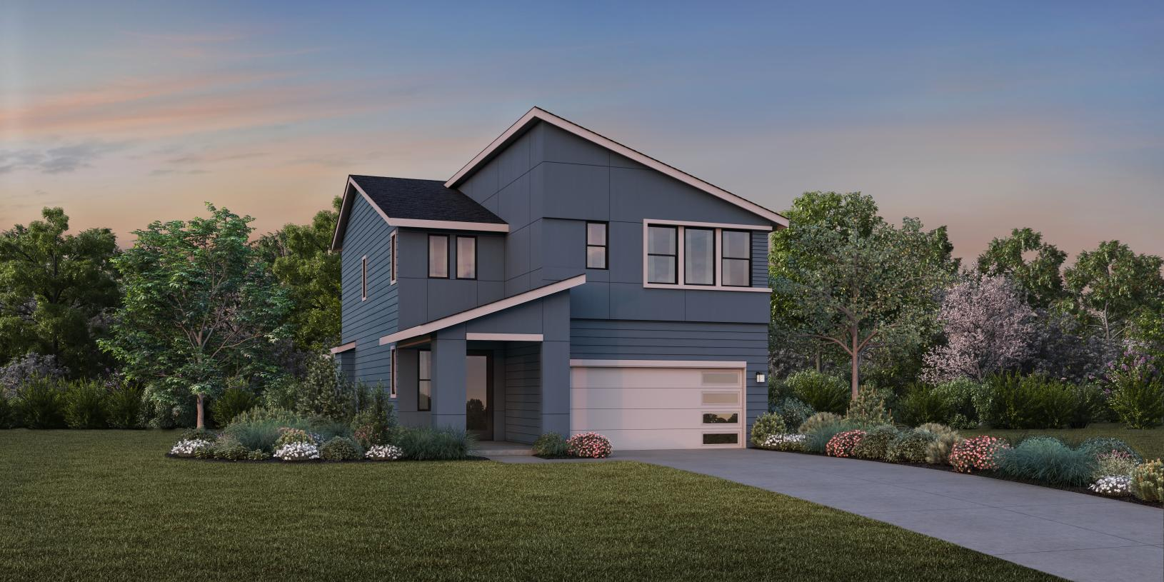 The Glacier with Basement contemporary exterior will blend nicely with a variety of architectural styles