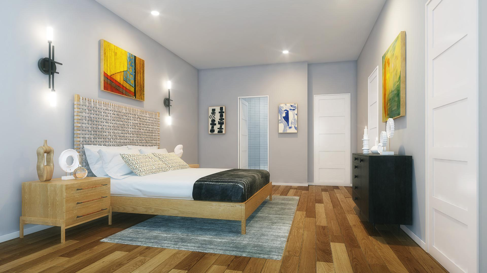 Large primary bedrooms with ample closet space