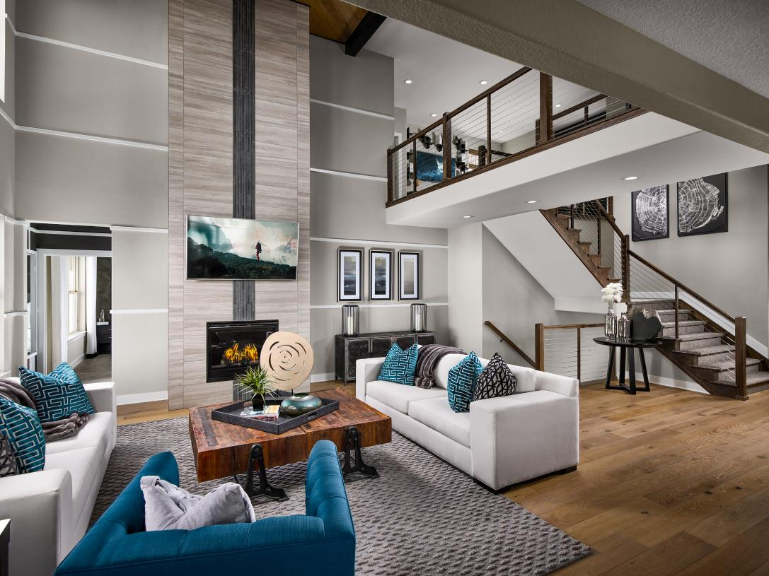 Two-story Yale great room with fireplace