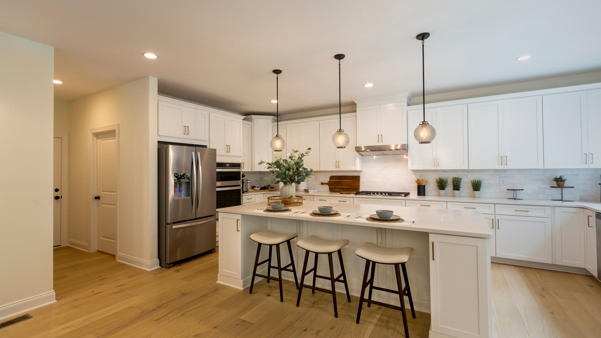 Spacious kitchen with center island and casual dining space