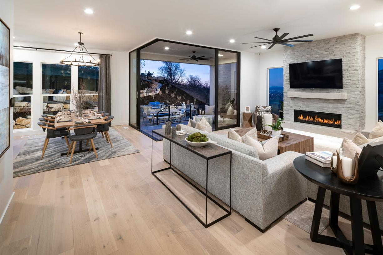 Beautiful open-concept great rooms with optional cozy fireplaces and easy access to covered patios