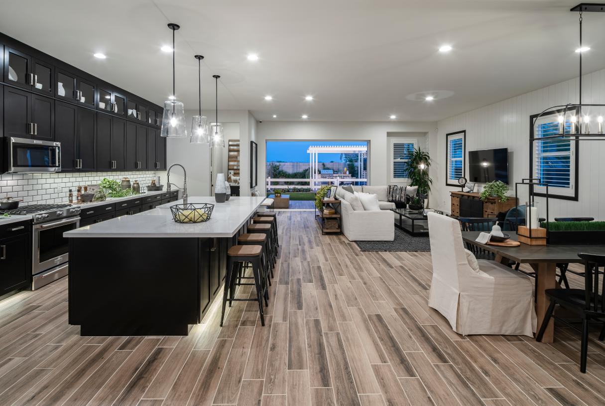 Open-concept floor plans with views of the kitchen, dining area, and rear covered patio beyond
