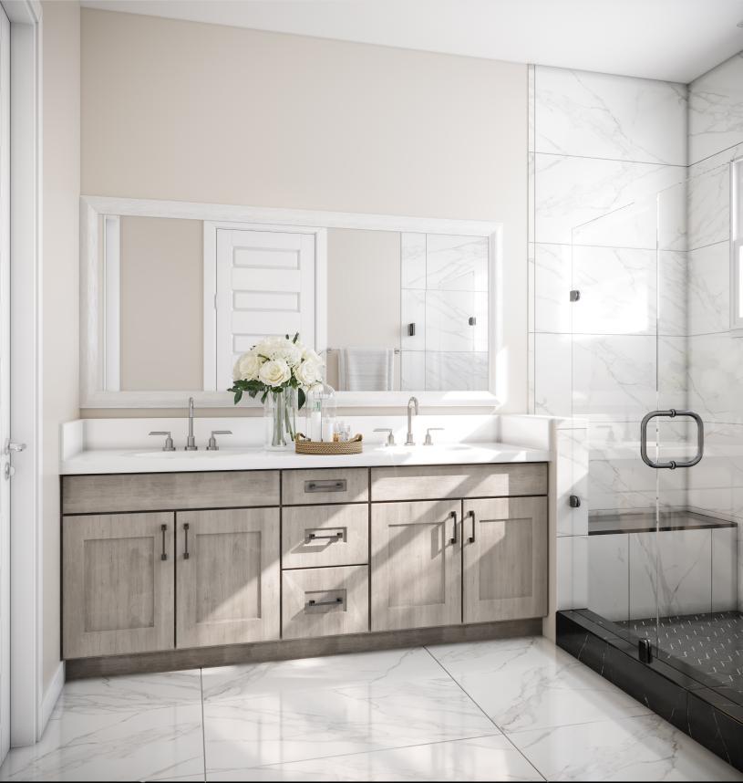 Luxe primary bathrooms with dual vanities