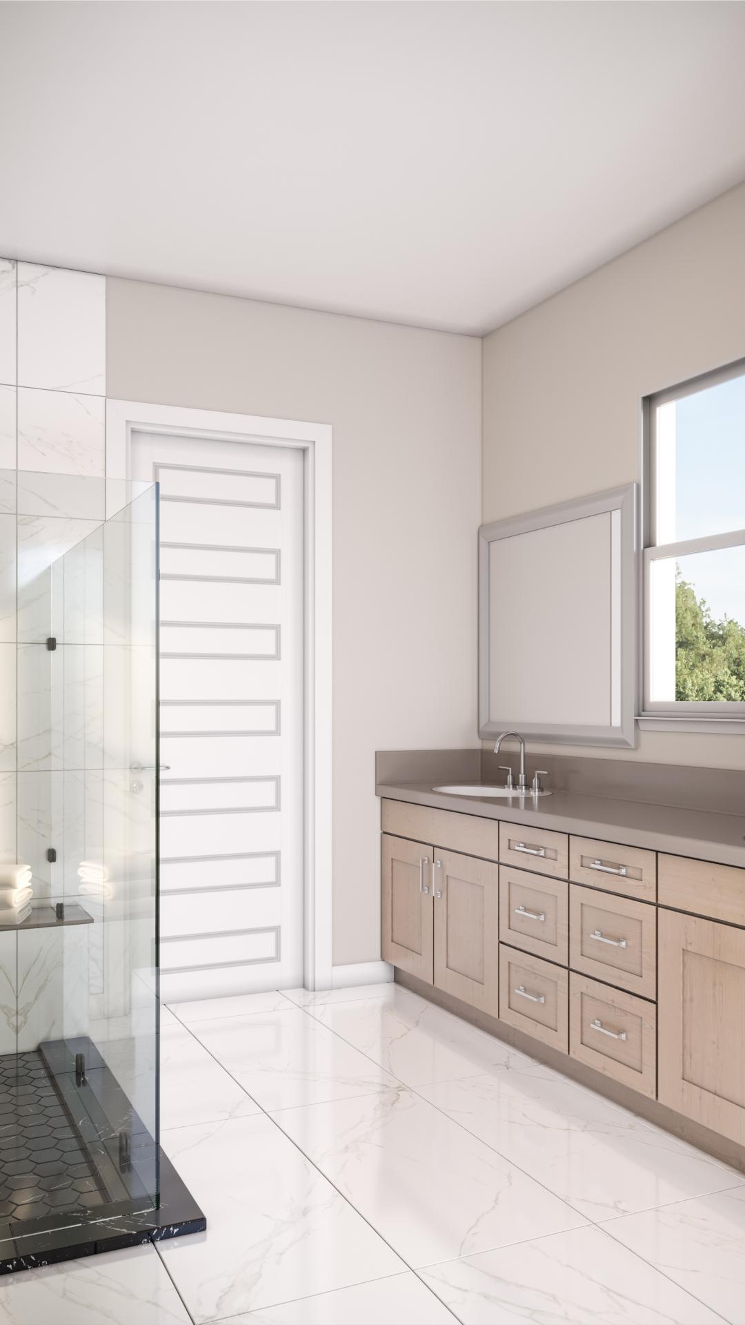 Luxe spa-like primary bathrooms with dual vanities