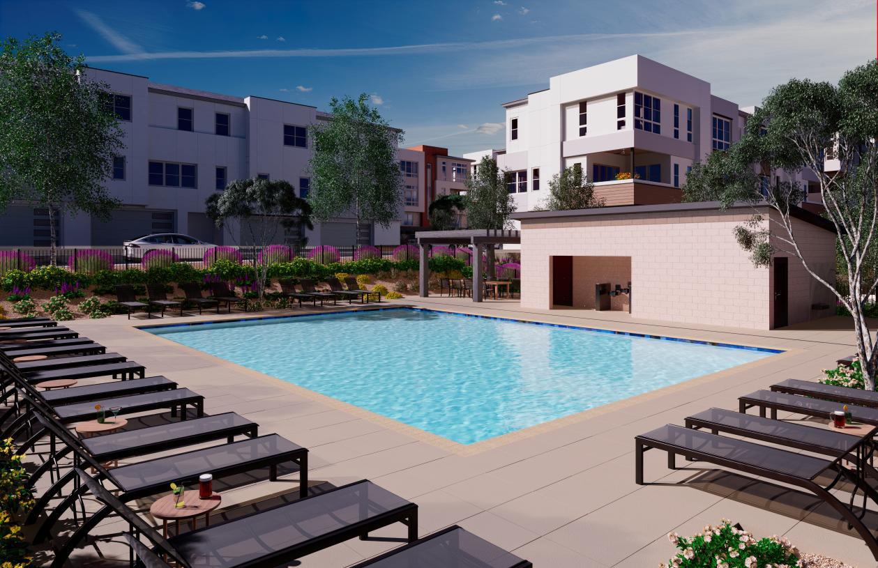 Relax poolside at Amiata's community pool