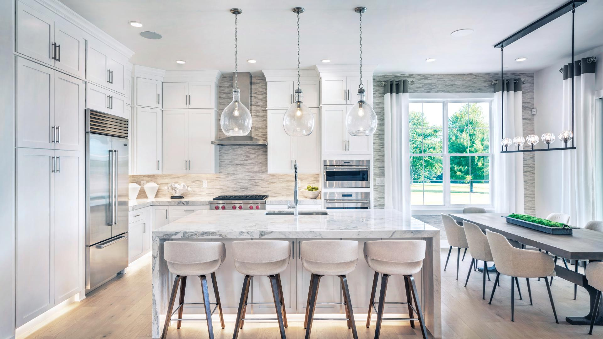 Graphic depiction: Kitchens with large center islands perfect for entertaining