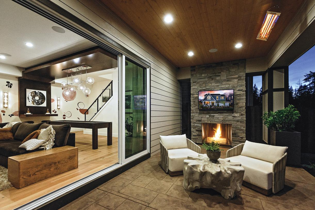 Select homes feature daylight basements with large flex-space and covered outdoor living