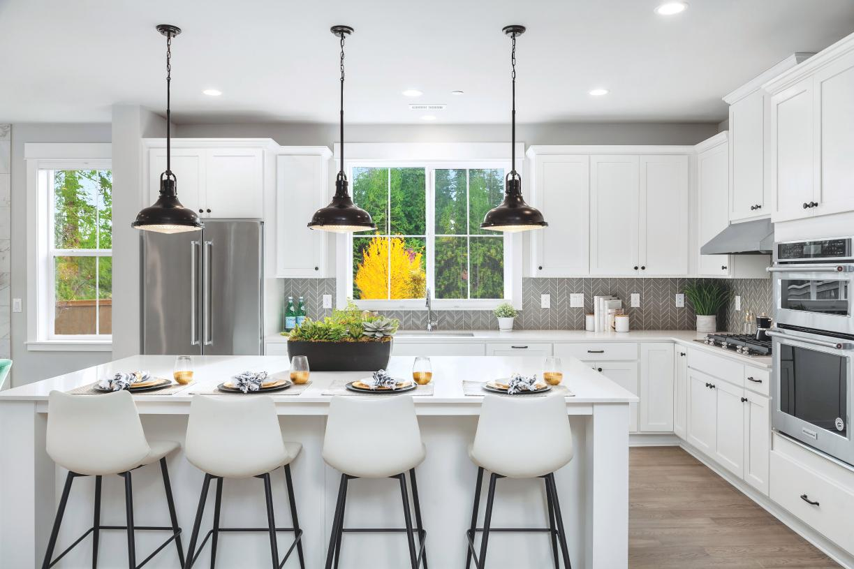 Gourmet kitchens offer ample cabinet space
