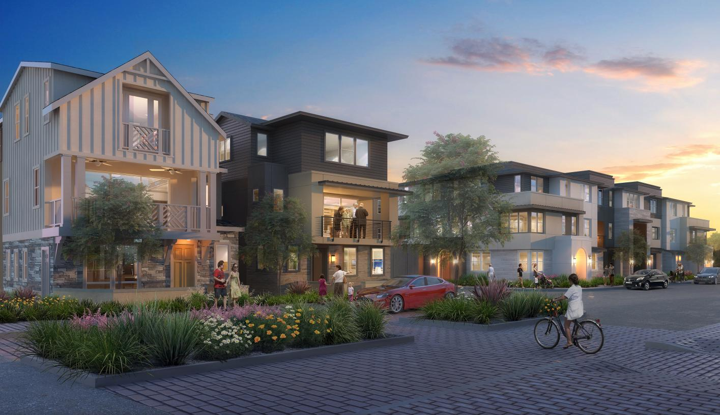Luxurious 3-story townhomes and single-family homes set amid rolling hills
