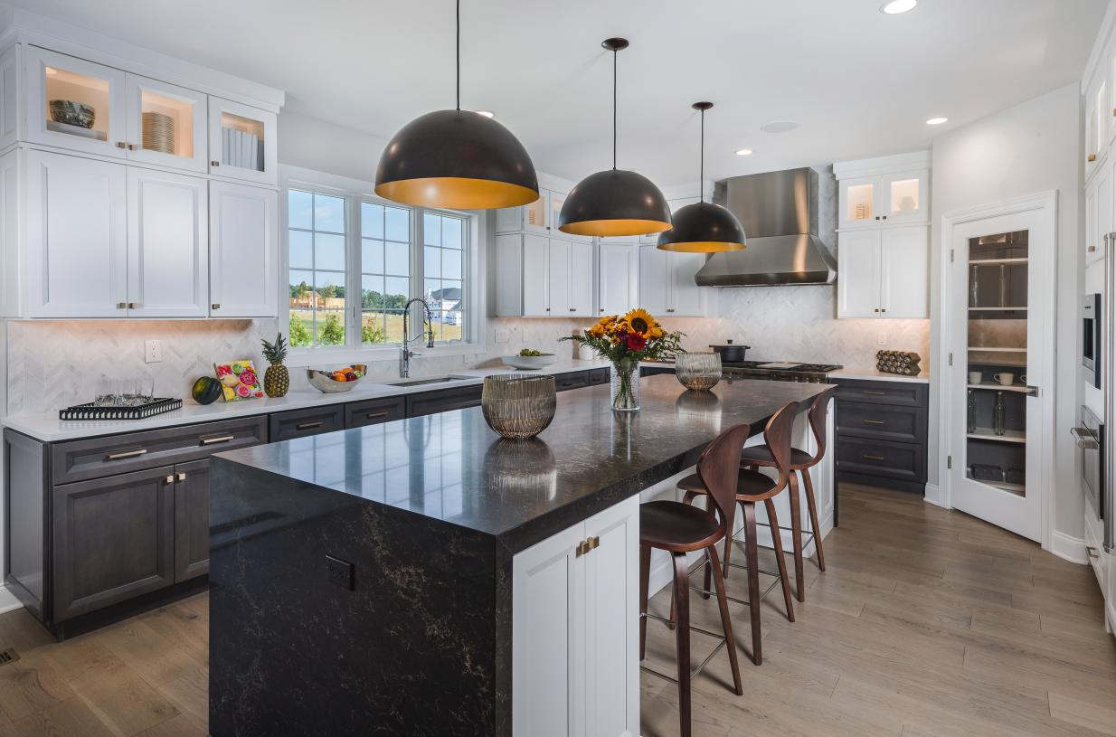 Kitchen with large center island and casual dining area