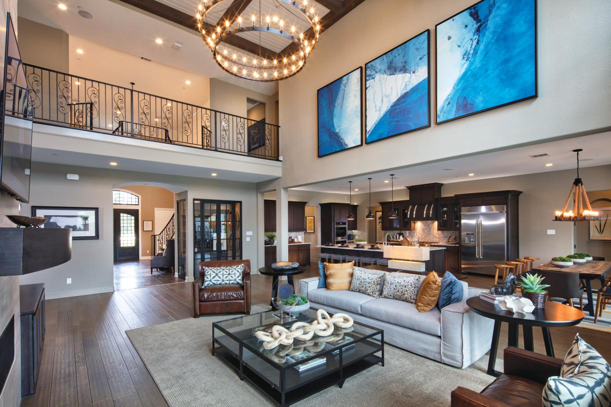 Open-concept living with soaring ceiling heights