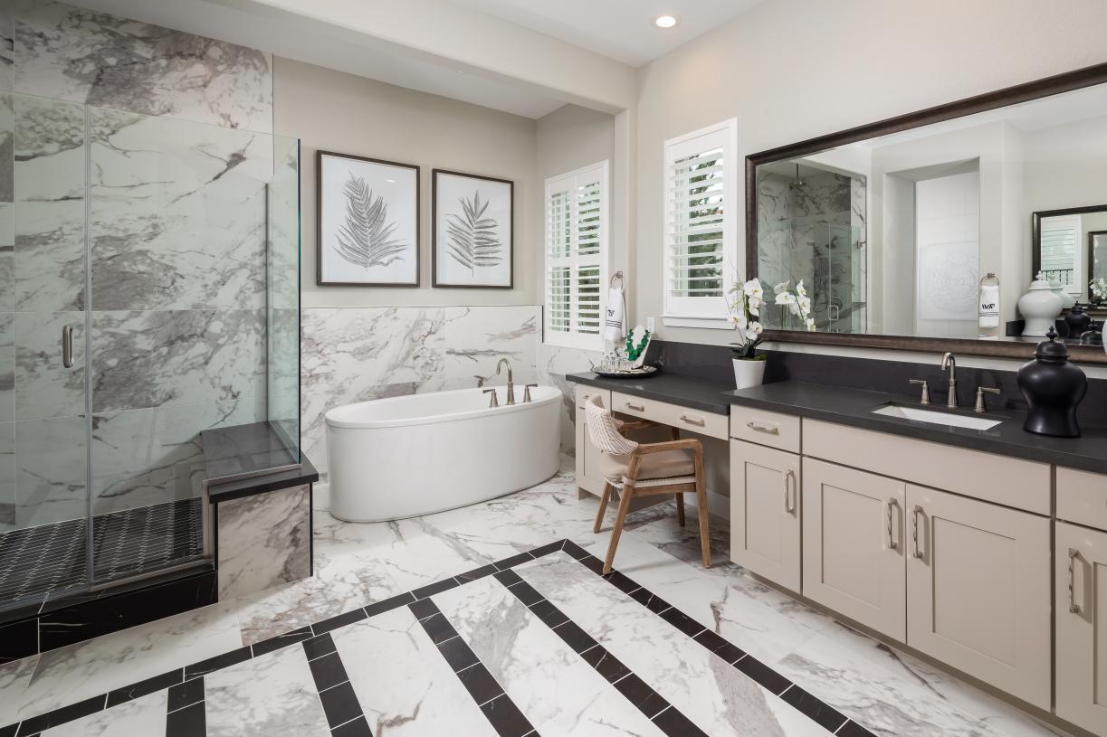 Generous soaking tubs in primary bathrooms