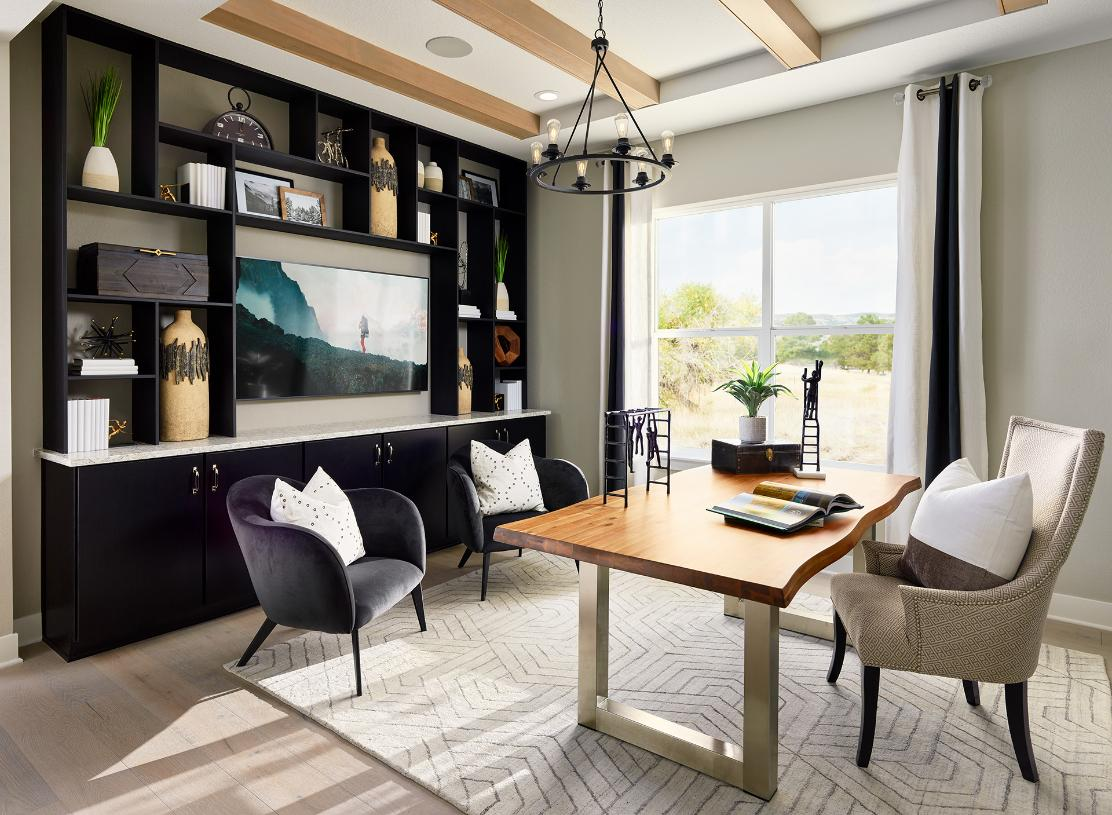 Versatile flex space option can be used for a home office