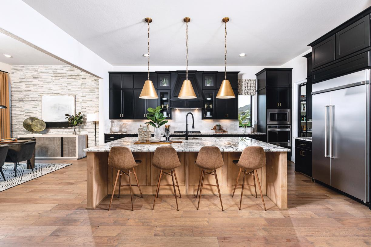 Gourmet kitchen with casual dining space