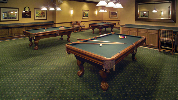 Play a fun game of pool in our community billiards room