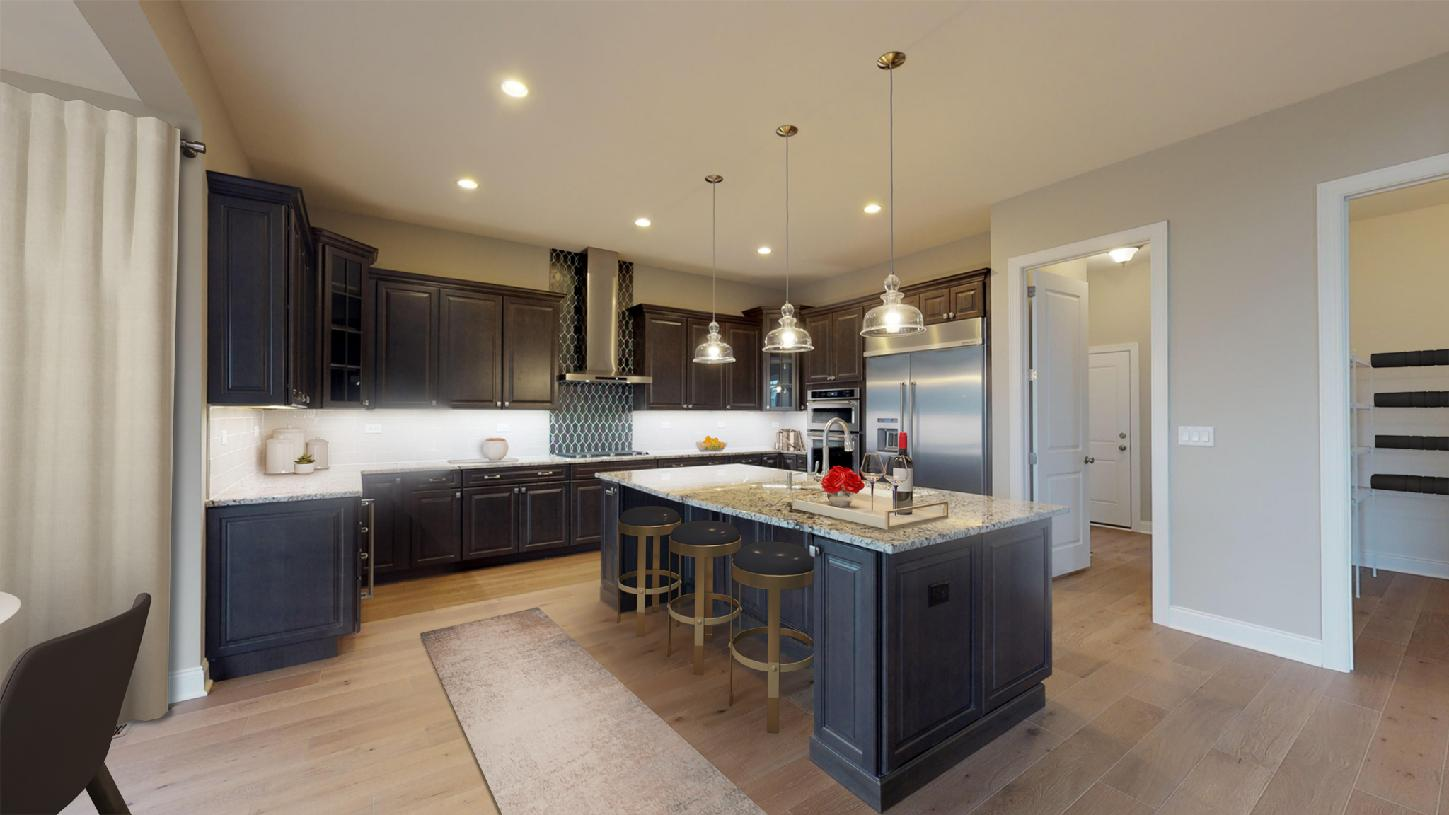 Gorgeous gourmet kitchen with large center island and walk-in pantry - Shown with optional Naples sun room