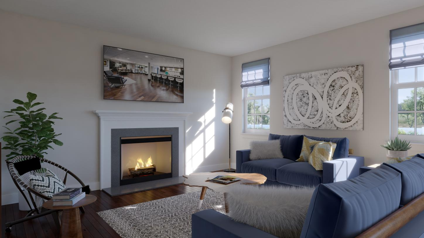 Spacious great room shown with optional cozy fireplace
