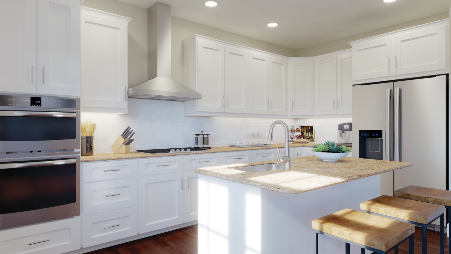 Well-appointed kitchen includes large center island and Whirlpool® stainless steel appliances