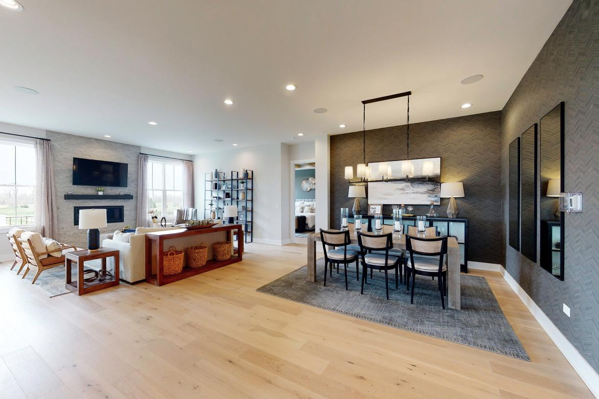 Open-concept ranch design with formal dining area