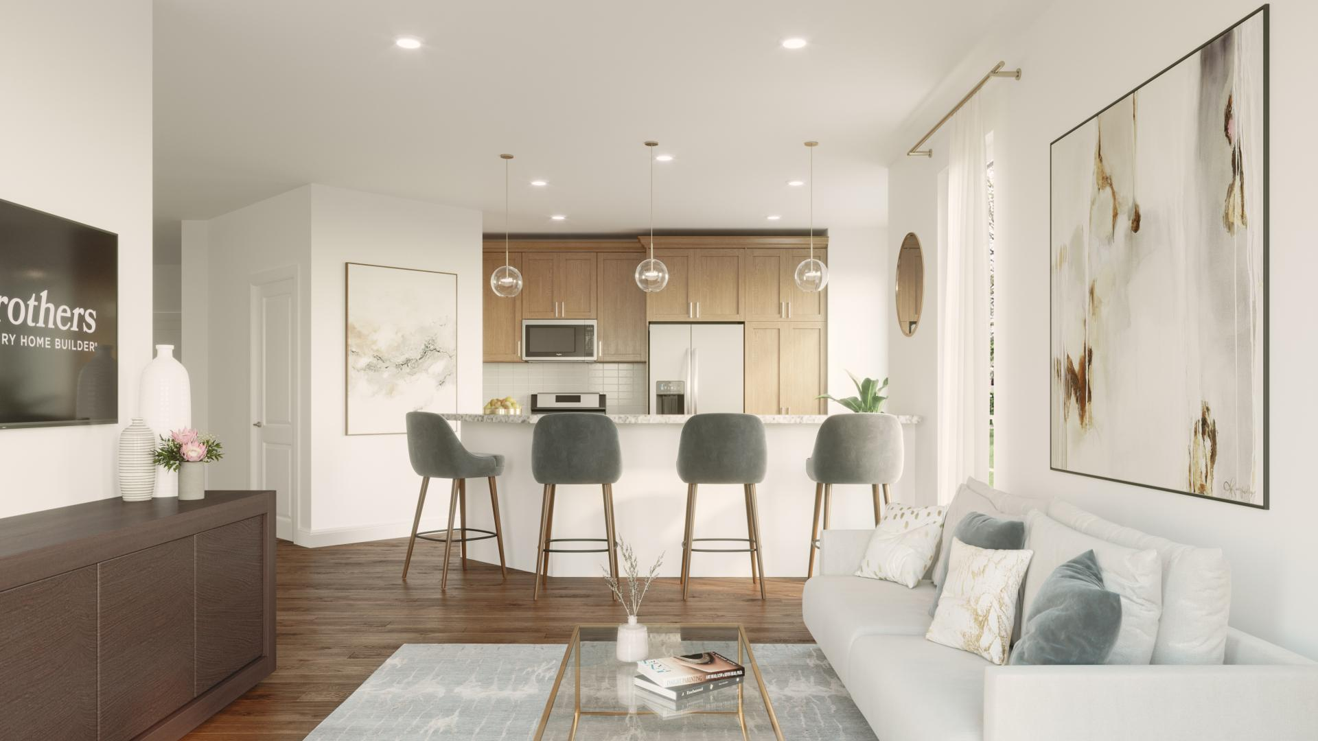 Open concept living provides seamless flow from kitchen to living room