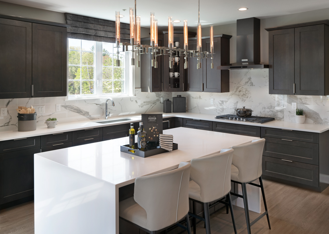 Kitchen with waterfall countertop and large enough to entertain