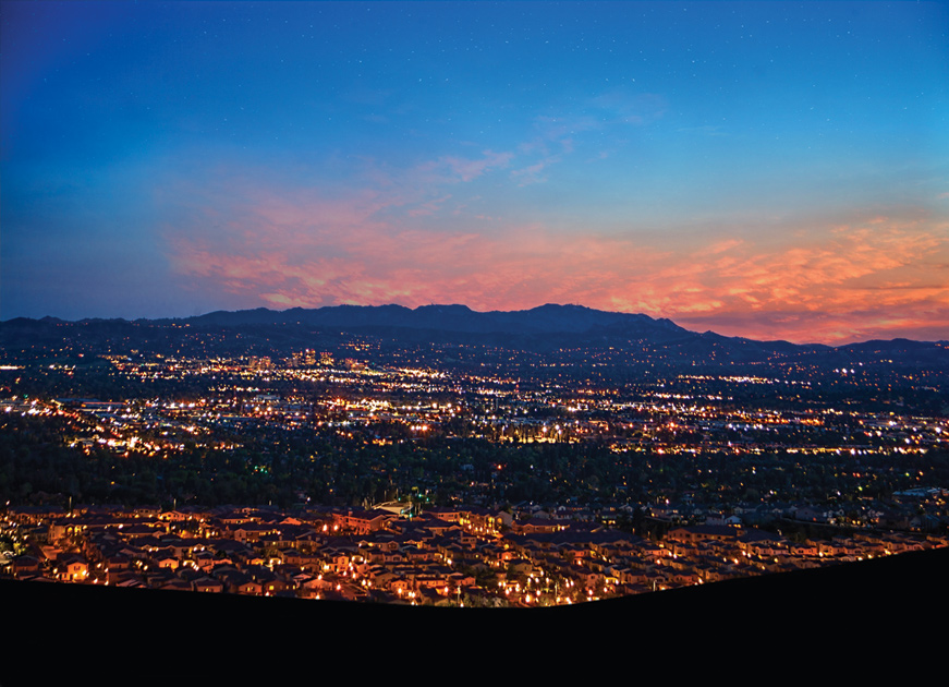 Porter Ranch is perched on a scenic hillside high above Los Angeles just south of the Santa Susana Mountains with city light views