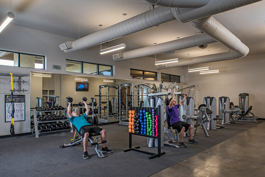 The Mediterranean-style clubhouse has a dedicated fitness center