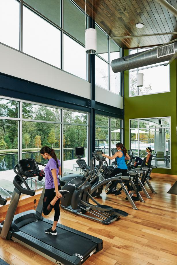 Enjoy cardio with a view at the Woodson's Club