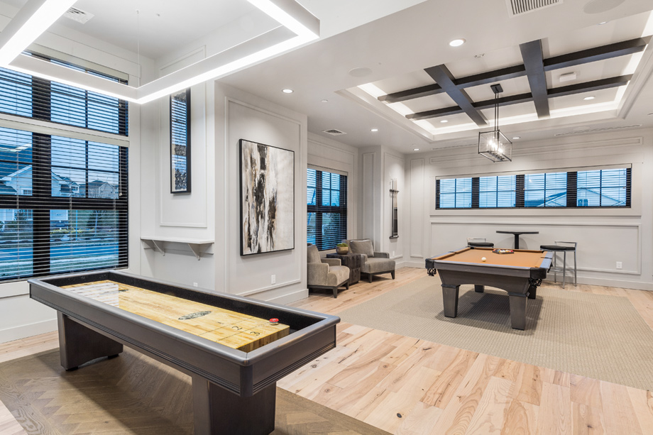 Shuffleboard and pool tables are located in the clubhouse