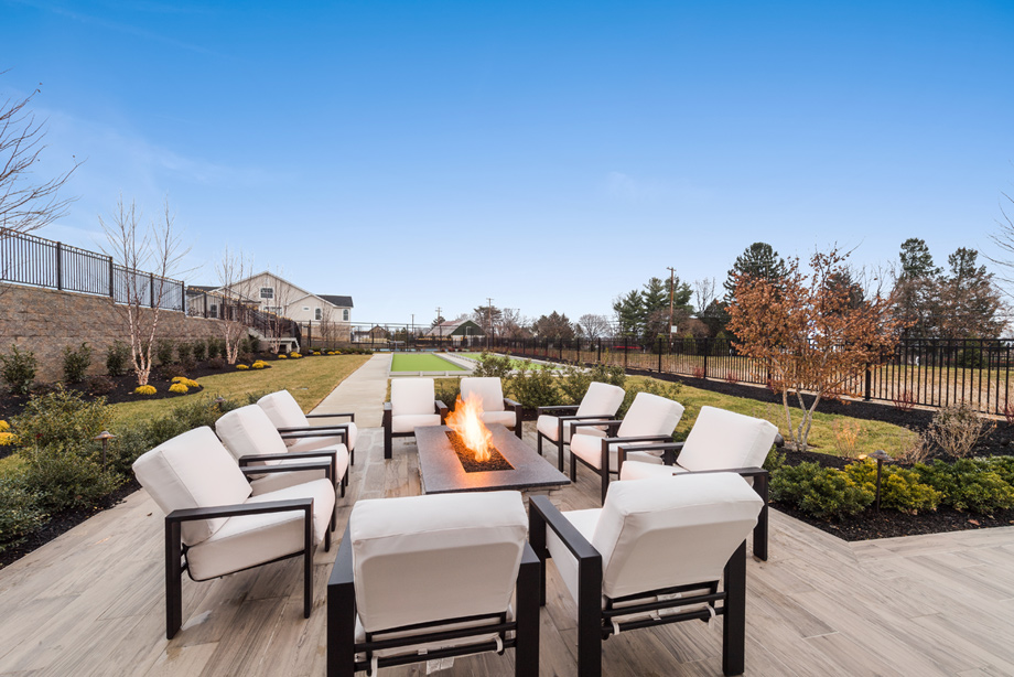 Cozy firepit located on the clubhouse's outdoor patio