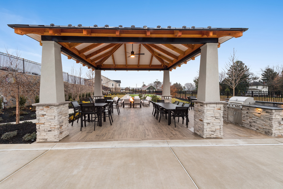Enjoy the weather at the outdoor pavilion adjacent to the pool