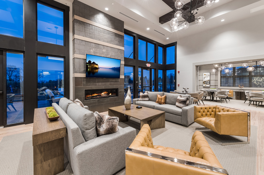 Exclusive community clubhouse with lounge, pool, fitness center, and more
