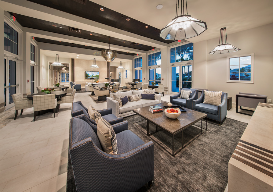 Club room at the Azure at Hacienda Lakes clubhouse