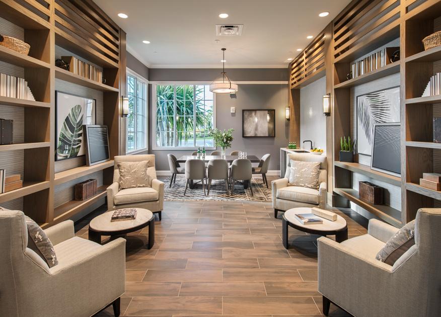 Sitting area and office at the Azure at Hacienda Lakes clubhouse