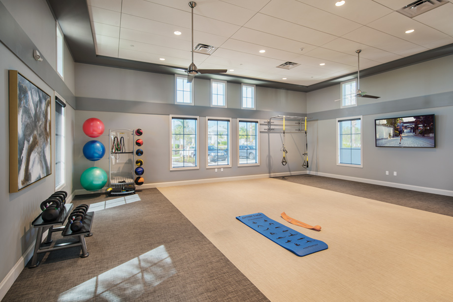 Fitness room  at the Azure at Hacienda Lakes clubhouse