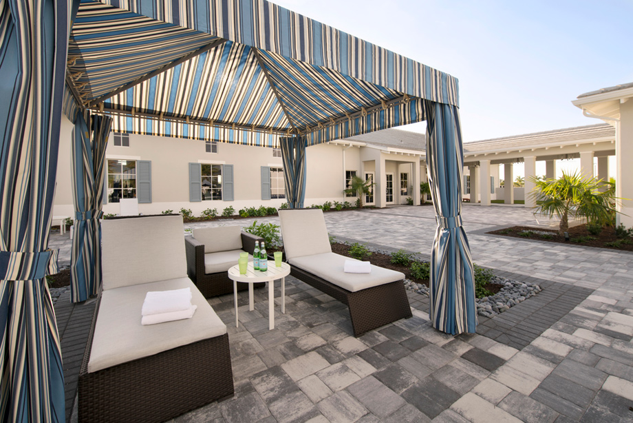 Patio at the Azure at Hacienda Lakes clubhouse