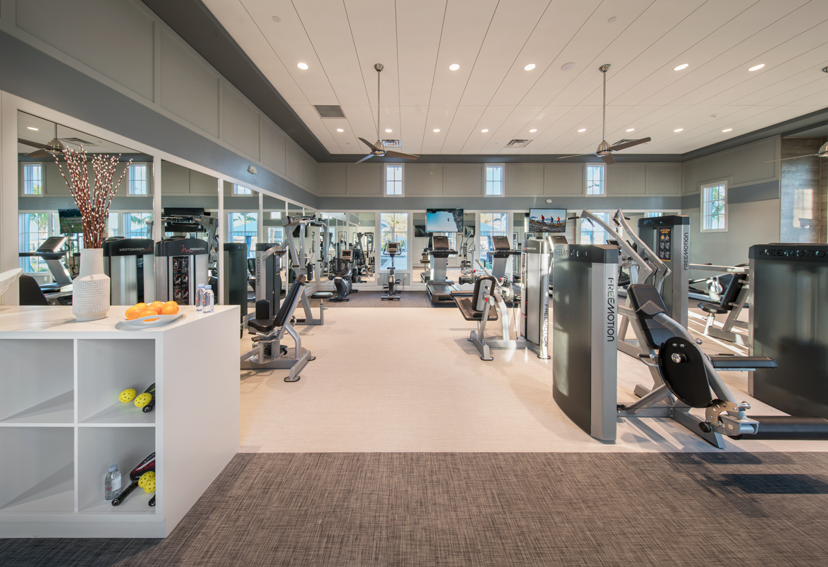 Fitness center at the Azure at Hacienda Lakes clubhouse