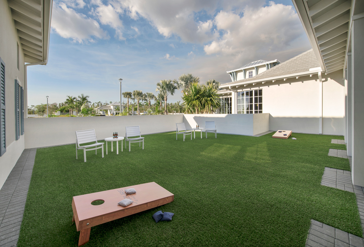 Activity lawn at the Azure at Hacienda Lakes clubhouse