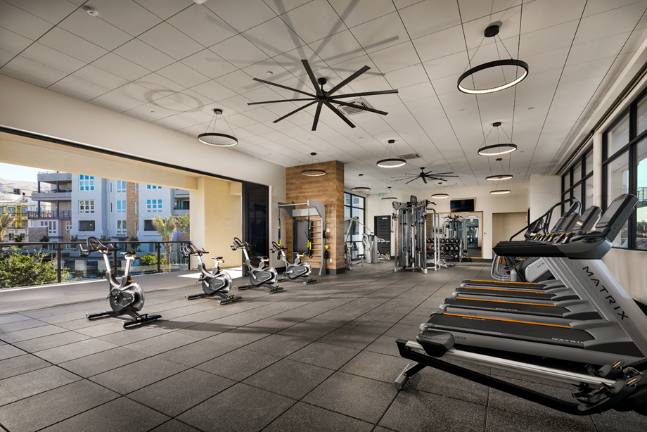 Fitness center with spin deck