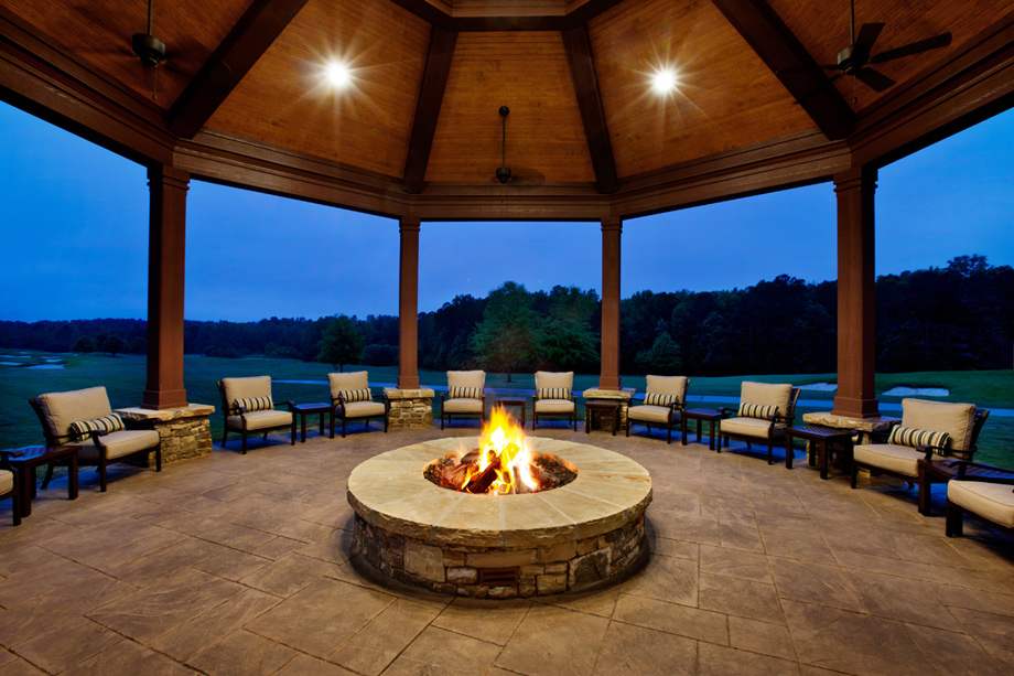 Outdoor fire pit at the community clubhouse