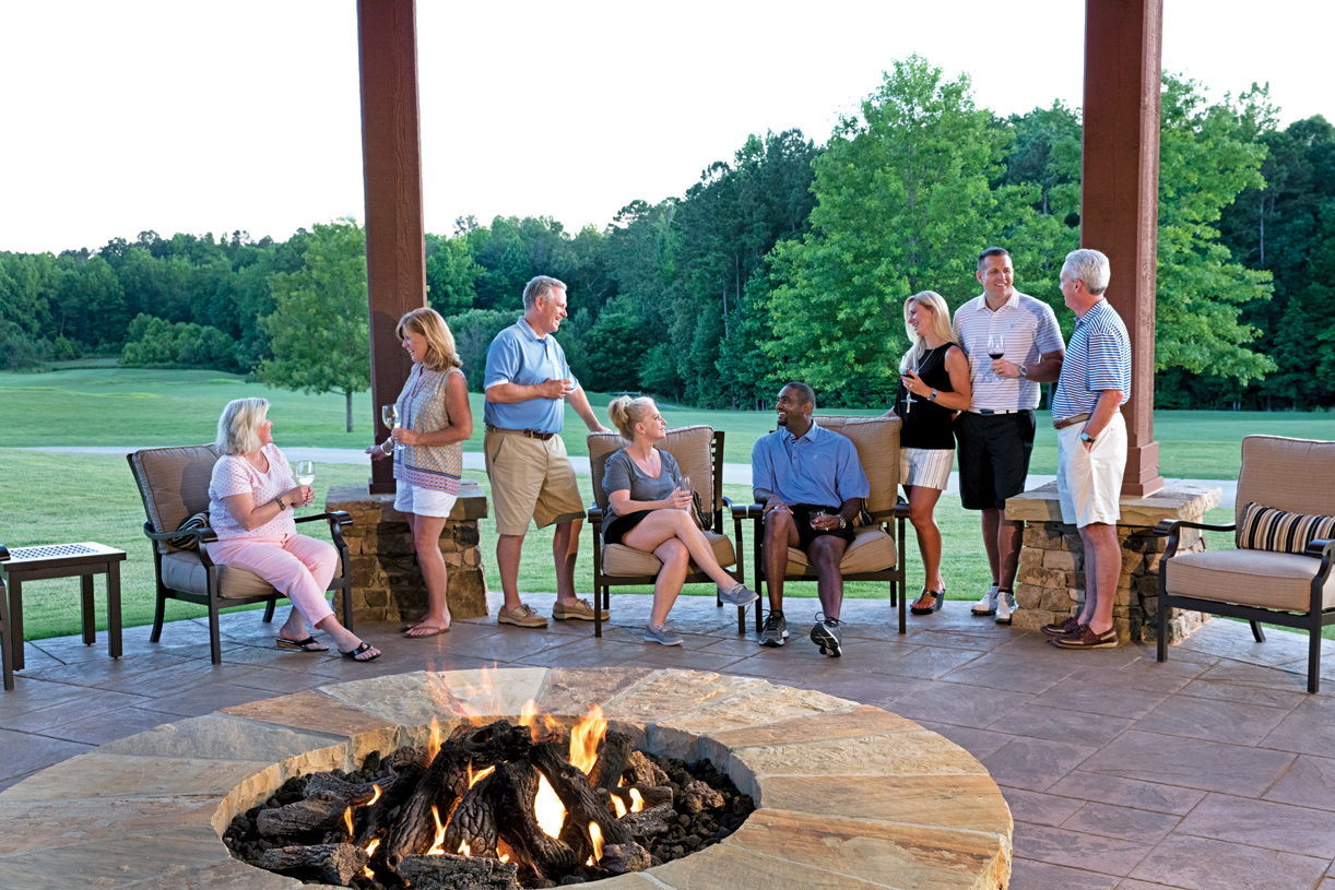 Relax with neighbors and friends outside the clubhouse