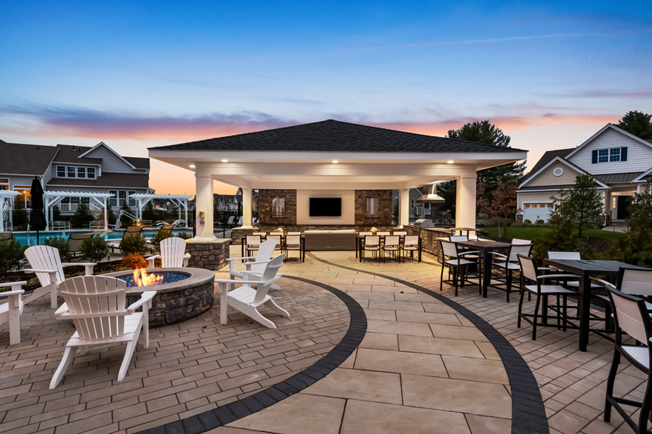 Mingle with neighbors at the clubhouse fire pit and pavilion