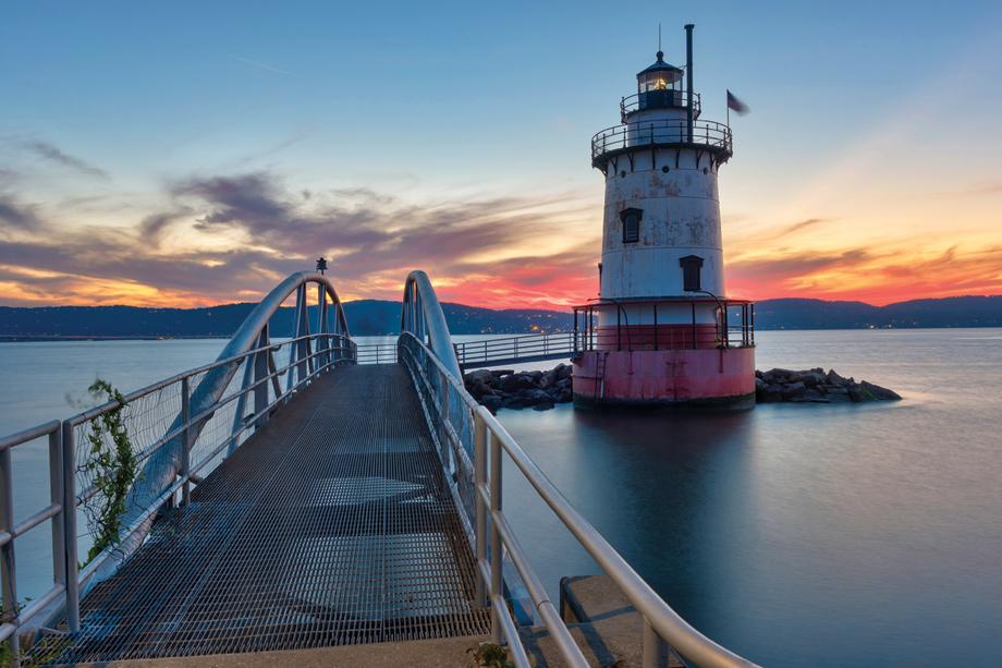 Explore the riverfront at dusk