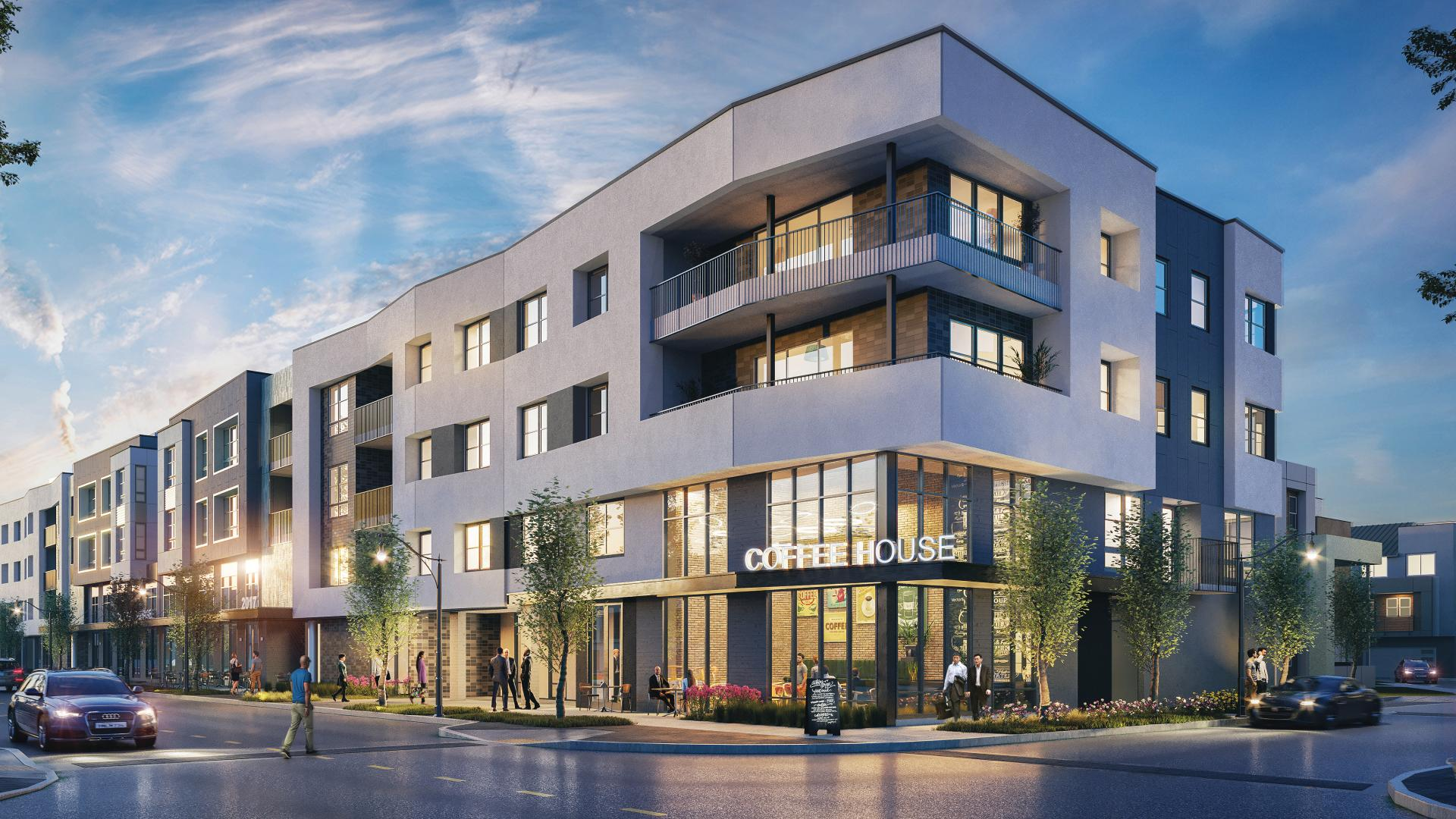 Neighborhood retail available with stacked luxury flats on top