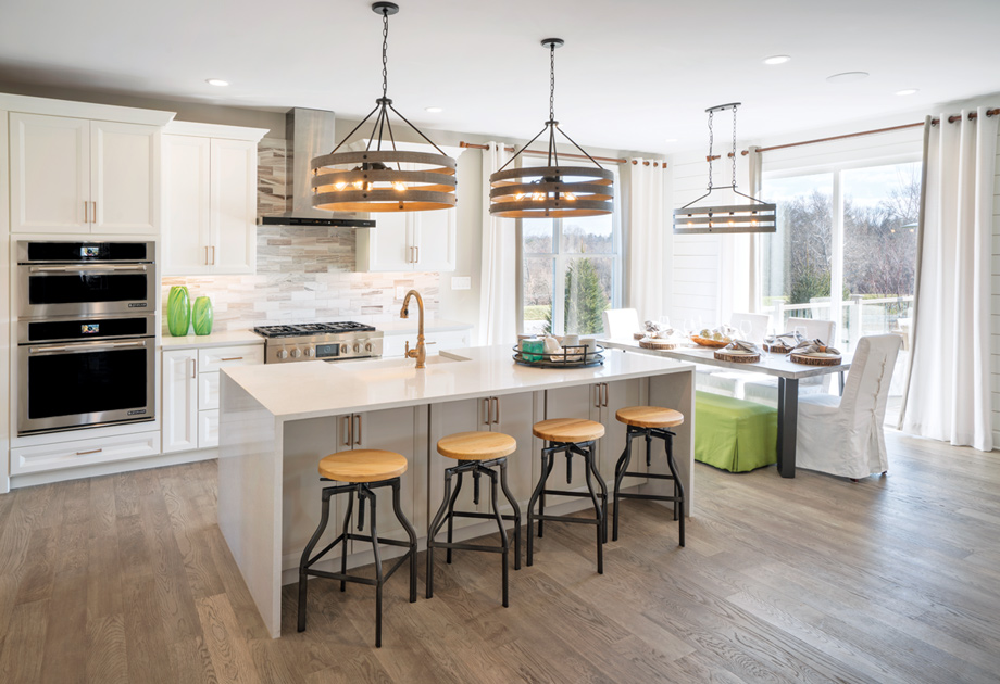Stainless steel appliances in the kitchens