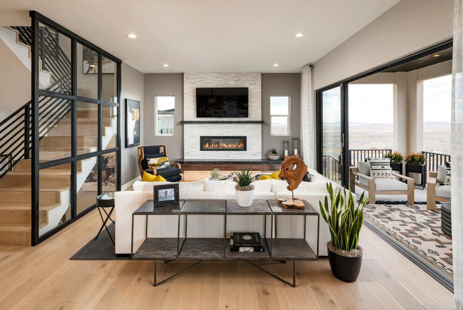 Open concept great room with multi-slide glass door that brings the outdoors in